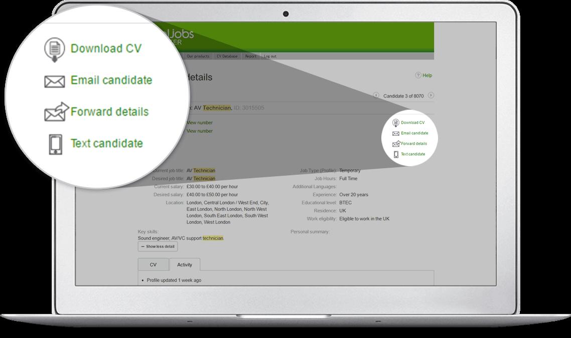 cv database 18 million searchable CVs, the UK's largest CV Database, totaljobs
